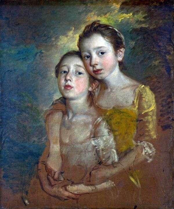 Портрет дочерей художника с кошкой   Томас Гейнсборо