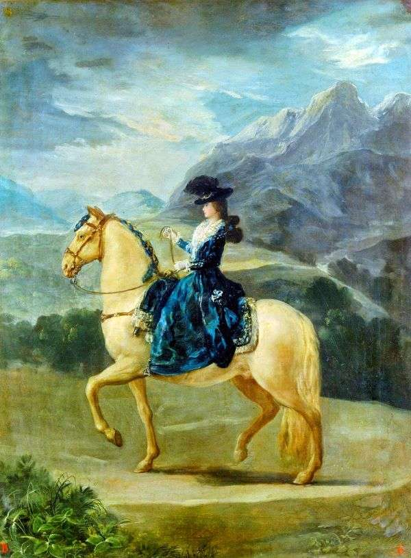 Портрет Марии Терезы де Бурбон и Валлабрига на коне   Франсиско де Гойя