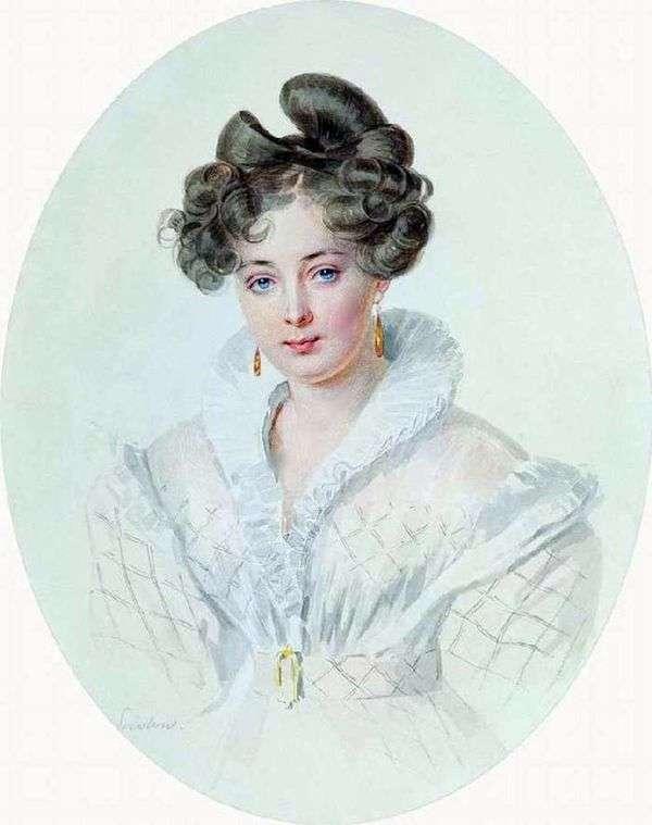 Портрет неизвестной в белом платье (С. А. Урусовой)   Петр Соколов