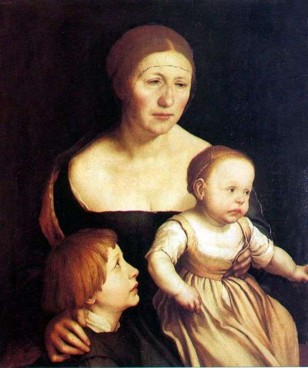 Портрет жены и детей   Ганс Гольбейн
