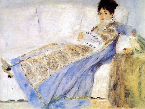 Портрет жены Клода Моне на диване   Пьер Огюст Ренуар