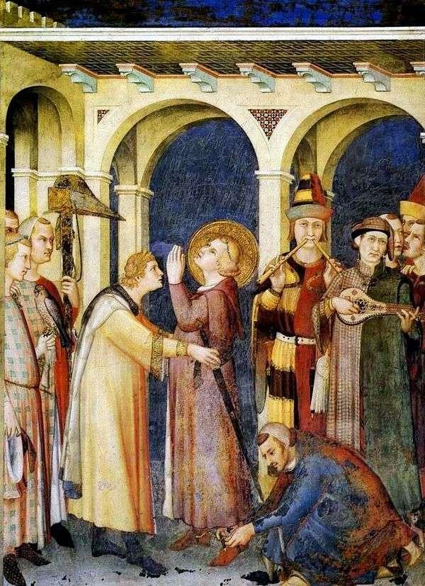 Посвящение в рыцари святого Мартина   Симоне Мартини