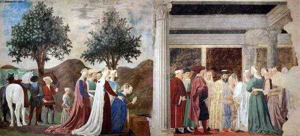 Прибытие царицы Савской к царю Соломону   Пьеро делла Франческа