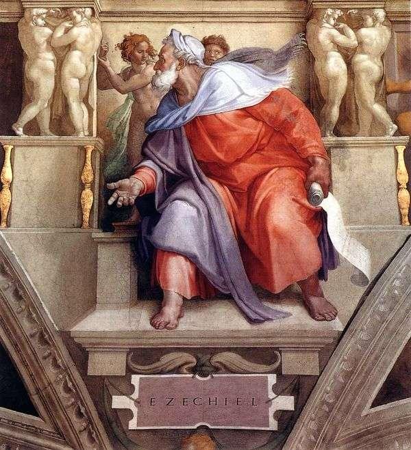 Пророк Иезекииль (фреска)   Микеланджело Буонарроти