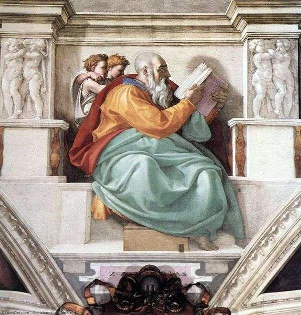 Пророк Захария, отец Иоанна Крестителя (фреска)   Микеланджело Буонарроти