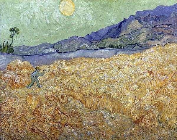 Пшеничное поле на рассвете и жнец II   Винсент Ван Гог