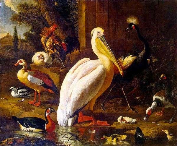 Птицы в парке   Мельхиор де Хондекутер