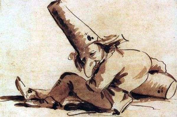 Пульчинелли, сидящий на земле   Джованни Баттиста Тьеполо