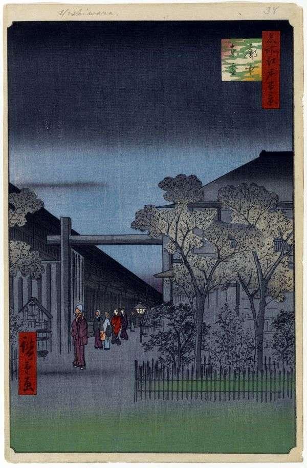 Рассвет в квартале Есивара   Утагава Хиросигэ