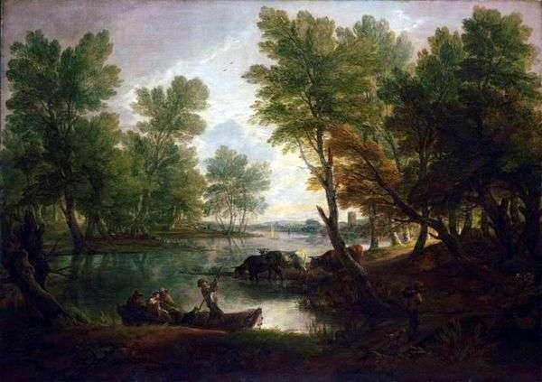 Речной пейзаж с фигурами в лодке   Томас Гейнсборо