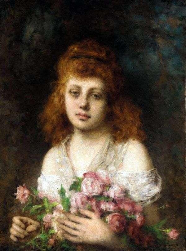 Рыжеволосая девушка с букетом роз   Алексей Харламов