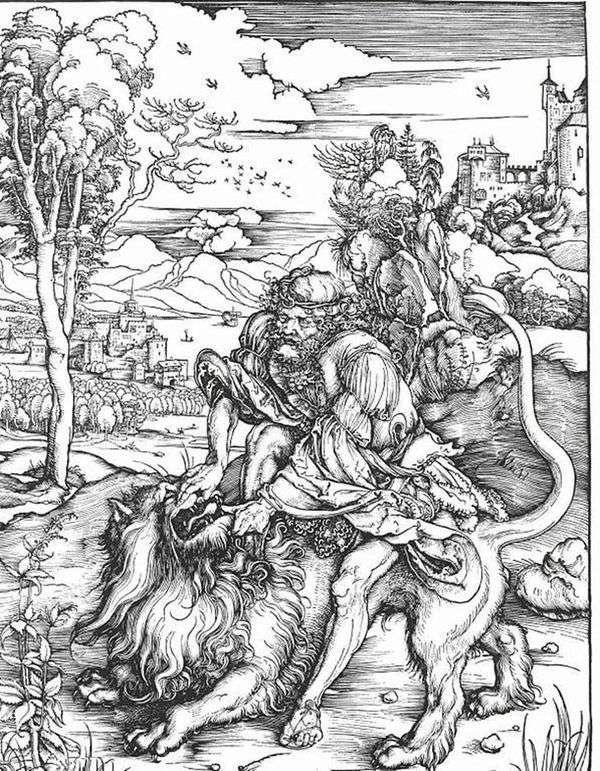 Самсон убивающий льва   Альбрехт Дюрер