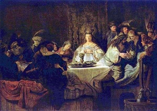 Самсон загадывает загадку за свадебным столом   Рембрандт Харменс Ван Рейн