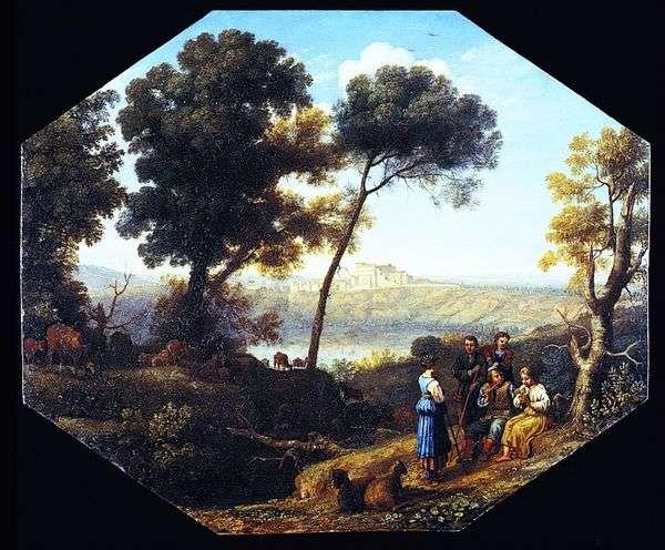 Сельский пейзаж с видом замка Гандольфо   Клод Лоррен