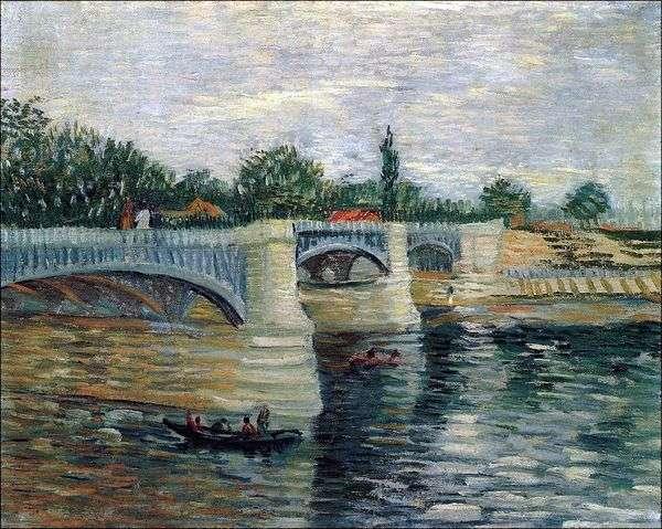 Сена с Понтонным мостом Гранд Джет   Винсент Ван Гог