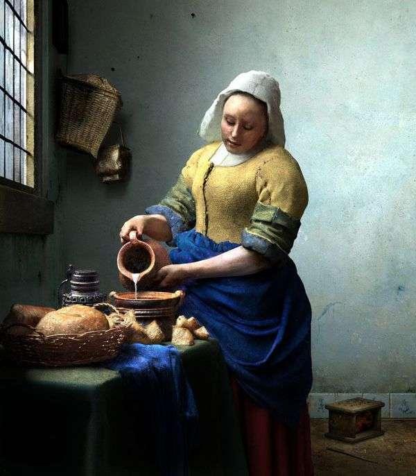 Служанка с кувшином молока   Ян Вермеер