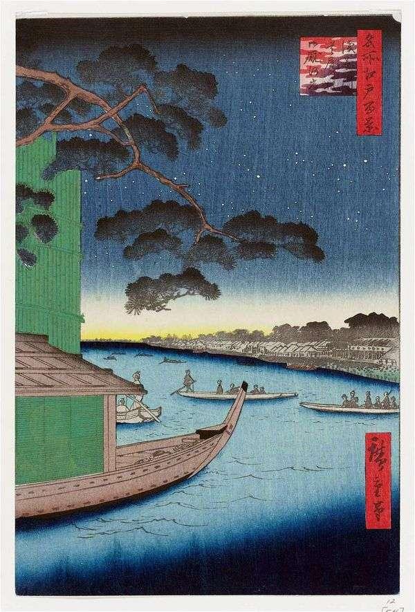 Сосна Сюби но мацу на реке Асакусагава, набережная Оммаягаси