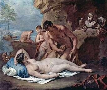 Спящая нимфа и два сатира   Себастьяно Риччи