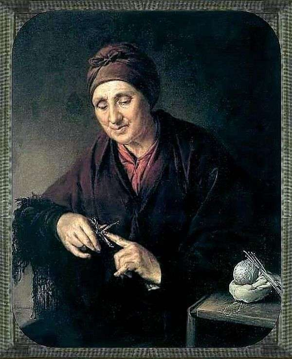 Старуха, стригущая ногти   Василий Тропинин