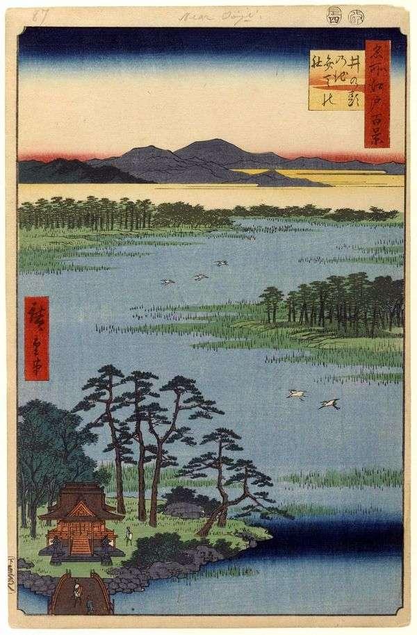 Святилище Бэнтэн на пруду Инокасира но икэ   Утагава Хиросигэ