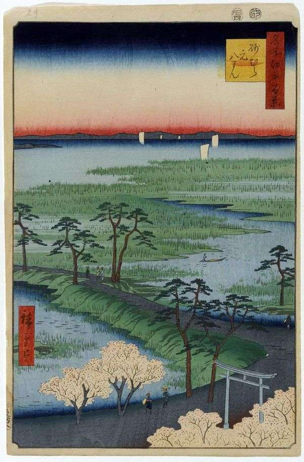 Святилище Мотохатиман в Сунамура   Утагава Хиросигэ