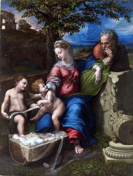 Святое семейство под дубом   Рафаэль Санти