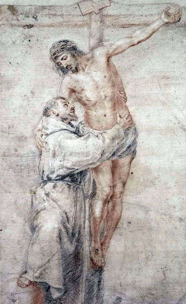 Святой Франциск, обнимающий Христа   Бартоломе Эстебан Мурильо