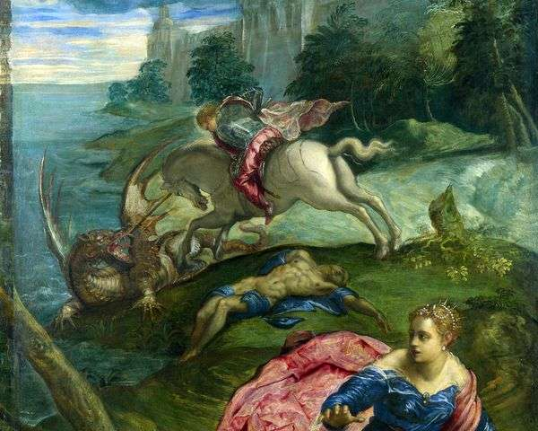 Святой Георгий, принцесса и дракон   Якопо Тинторетто