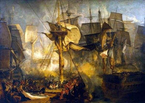 Трафальгарская битва, вид с вантов бизань мачты по правому борту корабля Виктории   Уильям Тернер