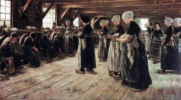 Трепальщицы льна в Ларене   Макс Либерман