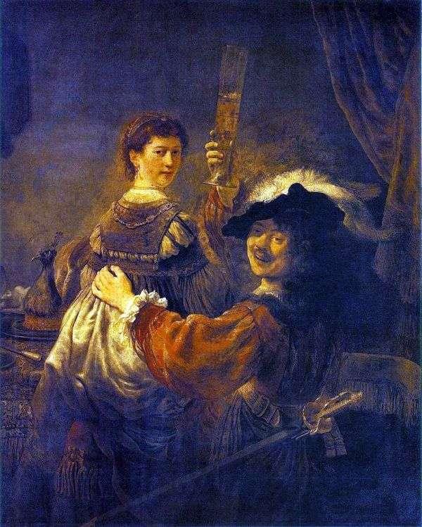 Веселое общество (Автопортрет с Саскией на коленях)   Рембрандт Харменс Ван Рейн