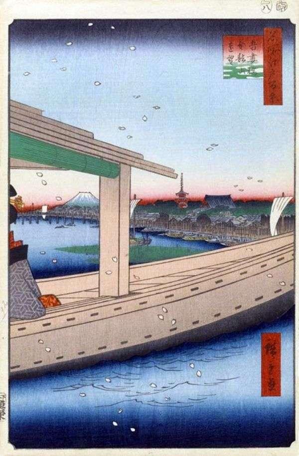 Вид на монастырь Кинрюдзан и мост Адзумабаси   Утагава Хиросигэ
