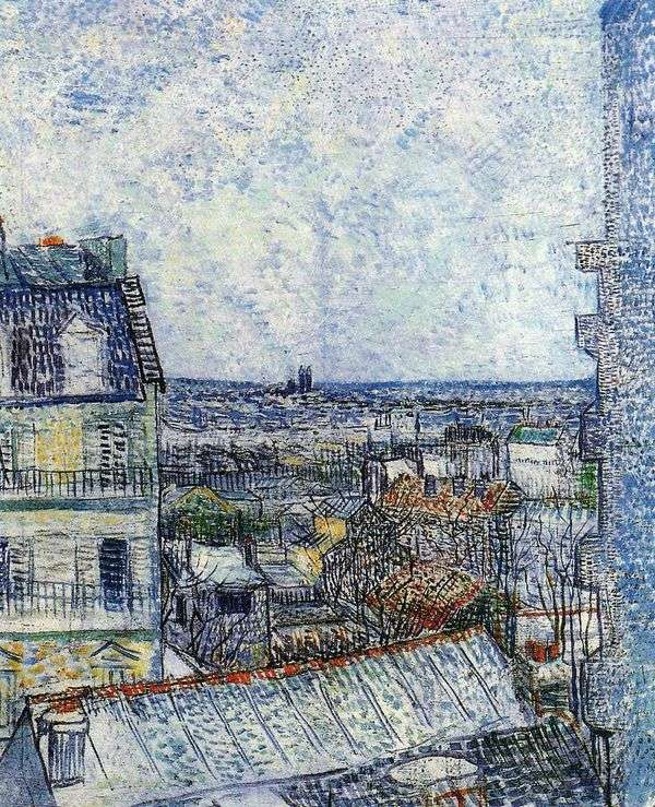 Вид на Париж из номера Винсента на Рю Лепик II   Винсент Ван Гог