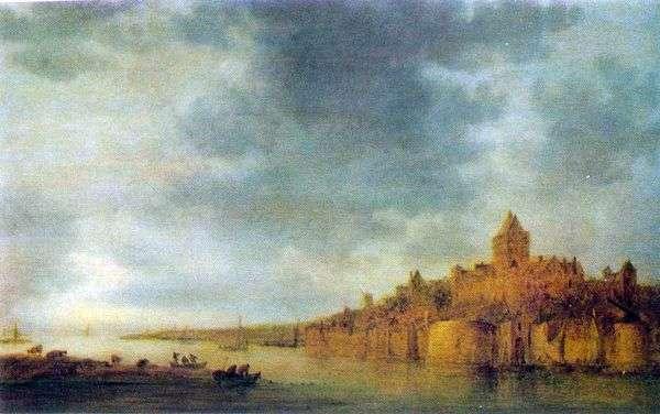 Вид реки Вааль у Неймегена   Ян ван Гойен
