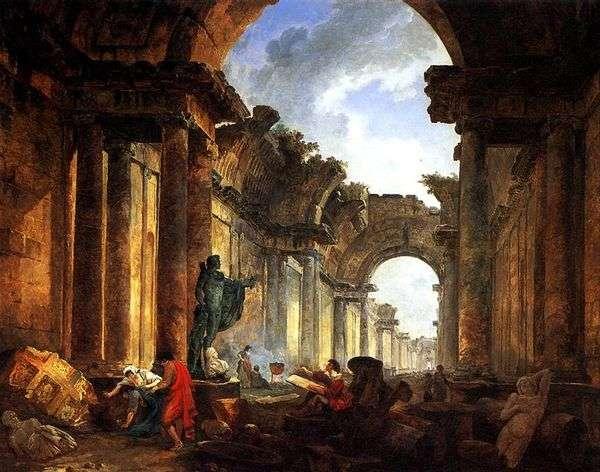Воображаемый вид Большой галереи в руинах   Юбер Робер