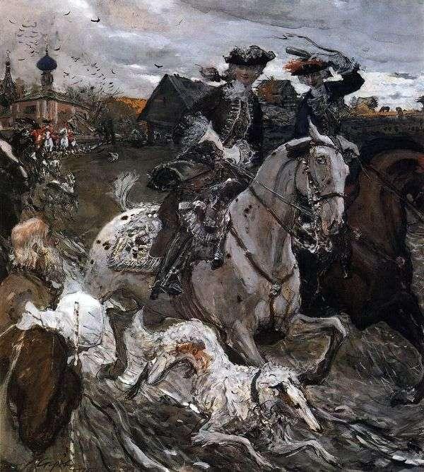 Выезд императора Петра II и цесаревны Елизаветы Петровны на охоту   Валентин Серов