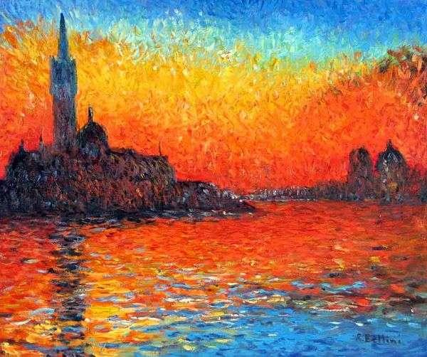 Закат в Венеции   Клод Моне