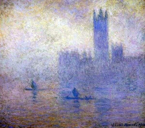 Здание Парламента в Лондоне. Эффект тумана   Клод Моне
