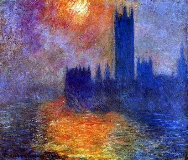 Здание Парламента в Лондоне. Закат   Клод Моне