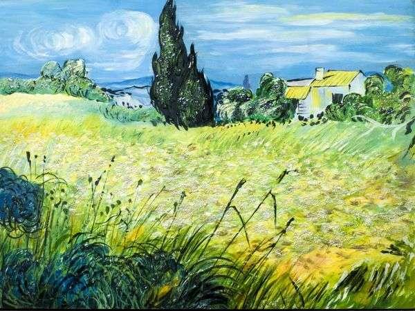 Зеленое пшеничное поле с кипарисом   Винсент Ван Гог