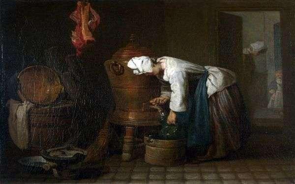 Женщина, наливающая воду из бака   Жан Батист Симеон Шарден