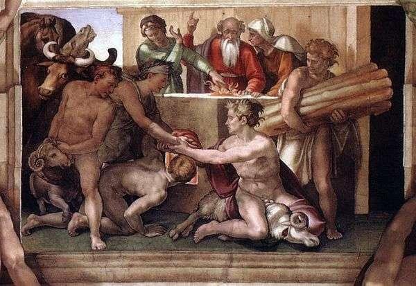 Жертвоприношение Ноя   Микеланджело Буанарротти