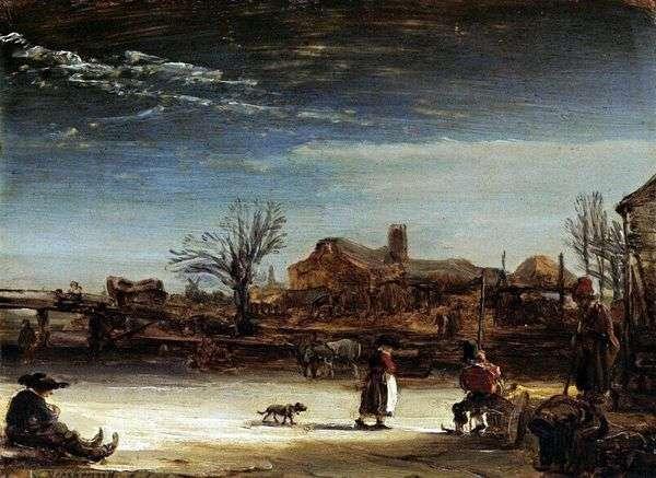 Зимний пейзаж   Рембрандт Харменс Ван Рейн