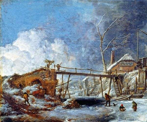 Зимний пейзаж с деревянным мостом   Филипс Вауверман